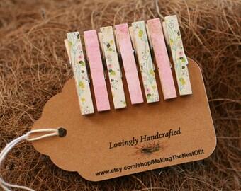 Baby Girl Clothespin Pink Set, Wood Clothes Pins, Set of 8