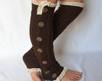 BS5426-Chocolate brown cable knit leg warmers slouchy open button down lace leg warmers boot socks women's accessory birthday gifts