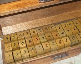 Vintage Handwriting Alphabet and Number Stamp Set - Korean Stamps - Capital