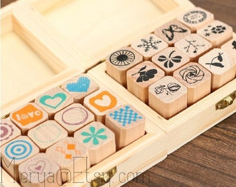 2 Cases Diary Stamps Set - Wooden Rubber Stamps - Deco Stamps - Korean Stamps