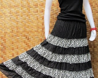 Cotton Patchwork Elastic waist Long Skirt thai cotton