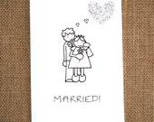 Wedding Card 'Married'    A handmade greeting card