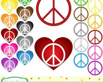 Peace and heart clip art, 20 symbols. INSTANT DOWNLOAD for Personal and commercial use.