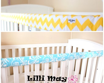 Teething Rail Cover Protector // Crib Rail Cot Rail Cover// You Choose fabric print//100% Cotton Incl. the padding//NO dacron (polyester)