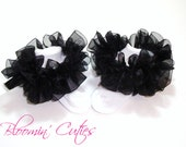 Little Miss Ebony Midnight Black Organza Newborn Infant Toddlers and Girls SUPER RUFFLE SOCKS by Bloomin Cuties Boutique
