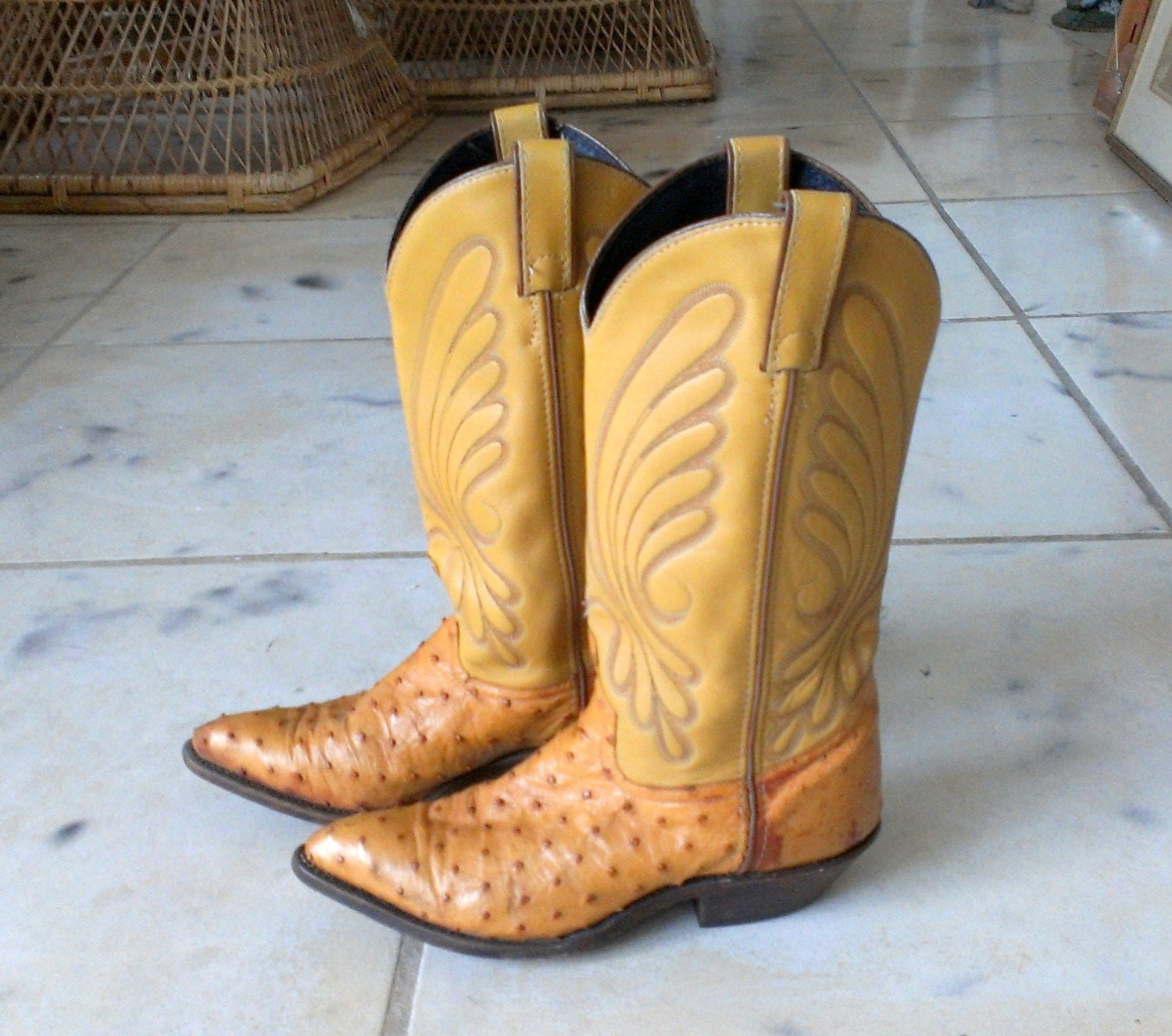 vintage ostrich skin cowboy boots womens size by