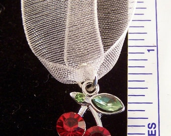 Crystal Cherries - Wedding Cake Pull Charm -Your life will be a bowl of cherries -315