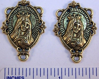 2 Gold Toned  Pewter Rosary Centers - Immaculate Heart of Mary - Free Shipping in the US - (5083)
