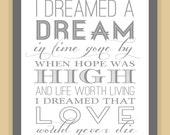 Les Miserables I DREAMED a DREAM Quote modern print poster