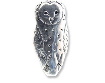 Sterling Silver Barn Owl Pin