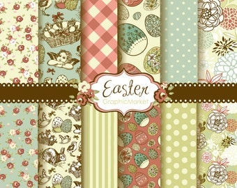 12 Easter Digital Scrapbook Paper pack for invites, card making, digital scrapbooking, Retro Shabby, Personal and Commercial Use