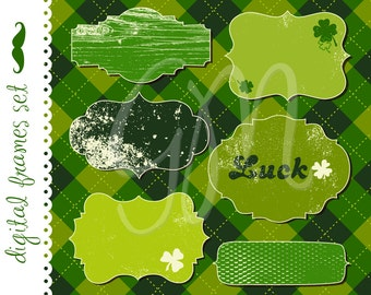 12 St. Patrick's Day Frames, Digital clip art, Digital Paper pack for scrapbooking, grungy, green, frames, stickers, labels, invitation