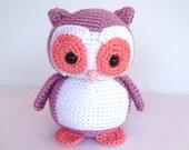 Crochet Owl Stuffed Animal in Purple