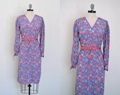 Vintage 1960s Dress // 60s Chevron Dress // Aztec Chevron Dress