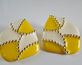 Vintage Don Lin Pierced Earrings - Bright Yellow, White, Goldtone - Marked Don Lin