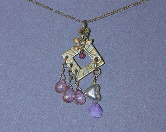 Amethyst, Ruby, Heart Necklace