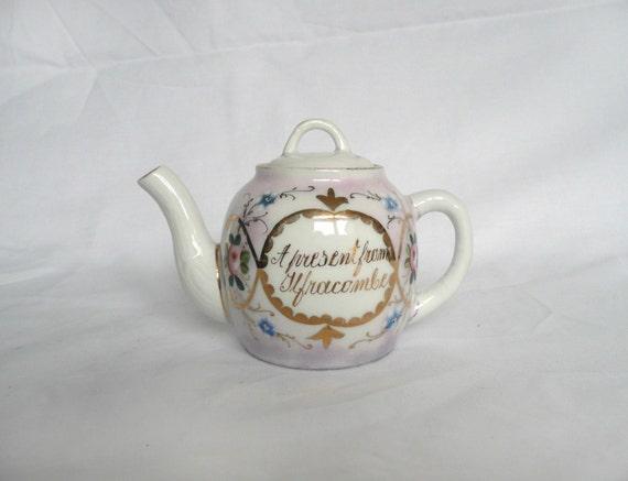 Victorian souvenir teapot - antique German teapot - pink lustre teapot - pink and gold Victorian teapot