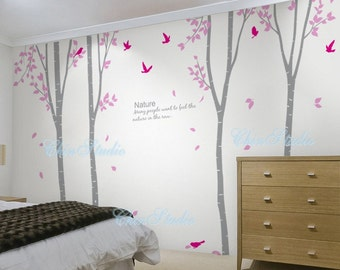 4 Birch Tree with Flying leaves-tree nursery wall decal baby decor nursery wall sticker children wall decals