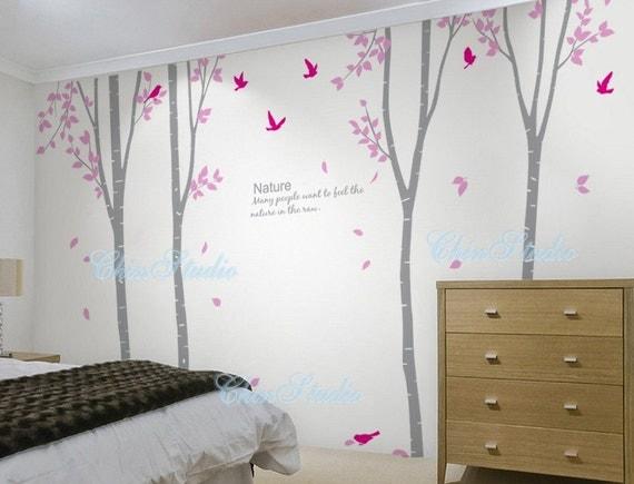 4 birke fliegende bl tter baum kinderzimmer wand von. Black Bedroom Furniture Sets. Home Design Ideas