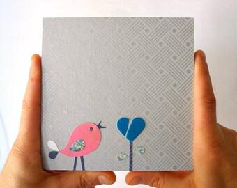 Silver Mini wood bird collage, Pink bird kids eco friendly wood collage,Silver Nursery Art,Kids room art, children wall art