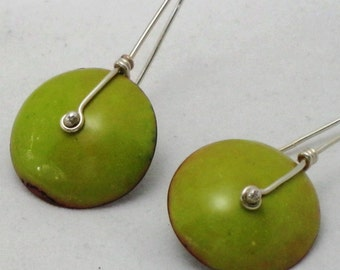 Copper Enamel and Sterling Silver Earrings