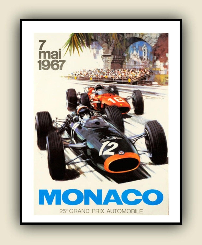 FORMULA ONE 1967 Monaco Grand Prix Poster Print in Full Colour
