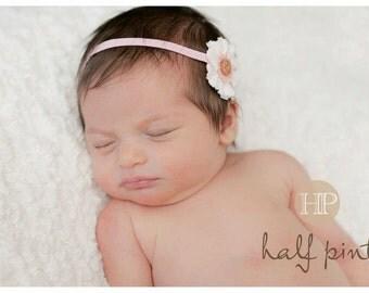 White & Light Pink Flower Headband / Newborn Headband / Toddler Headband / Photoshoot Headband / Baby Headband