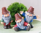 Ceramic Partying Garden Gnomes - SET OF THREE - 5 inches high -  hand painted, lawn and garden, indoor or outdoor