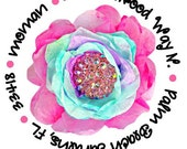 Hot Pink Blue Flower Round Labels Stickers for use as Gift Tags, Party Favors, Address Labels & Class Parties