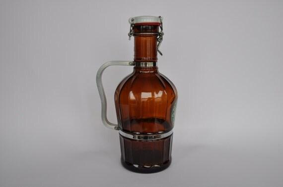 Vintage German Beer Growler Metal Handle Ceramic Lid 2