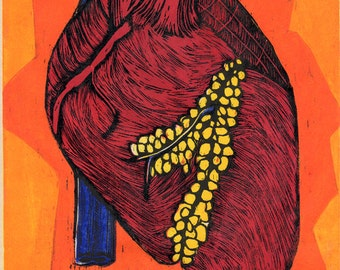 Hand-Pulled Color Woodcut print Heart no. 2
