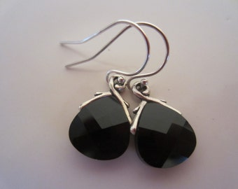 Bridesmaids-Black Wedding Jewelry-Jet Black Flat Briolette Crystal Earrings with Sterling Silver Earwires