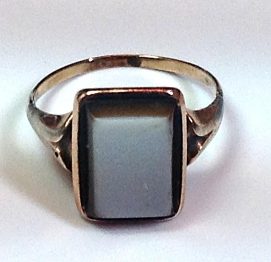 10k black onyx signet ring solid rose gold antique