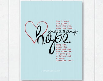 Unwavering Hope Scripture Print with Jeremiah 29:11
