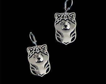 Japanese Akita Inu earrings - sterling silver.