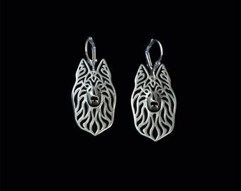 Long Haired Dutch Shepherd earrings - sterling silver