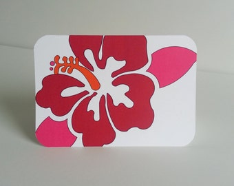 Hibiscus Card Stationery Set Hawaiian Flower Note Card Gumamela Correspondence Card Tropical Floral Thank You Note Flower Greeting Card