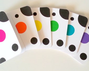 Patterned stationery pop of Color Black White Dalmation Spots Note Cards Set polk a dot patterned thank you note card