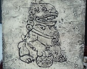 Foo Dog - 12x12 Textured Painting