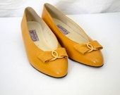 Vintage Women's Pappagallo yellow bow flats shoes - size 9