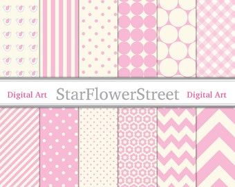 Baby Girl Digital Paper Pink Baby scrapbook background gingham polka dot chevron striped bird flower 92 Instant Download digi