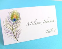 10 Wedding Place Cards / Escort Cards, Peacock Feather, Bridal Showers, Customize Your Font