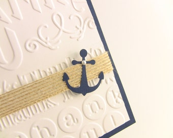 6 Navy Burlap and Anchor Nautical, Natural Beach Wedding Thank You  Cards - Beach Weddings, Showers, Customize Any Color, Printing Optional