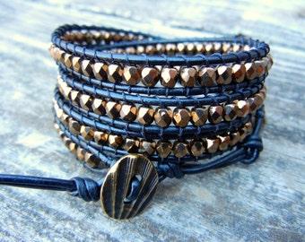 Beaded Leather Wrap Bracelet 4 Wrap with Metallic Bronze Czech Glass Beads on Black Leather