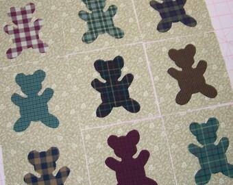 Set of 9 Teddy Bear Applique Quilt Blocks, Plaid Fabrics