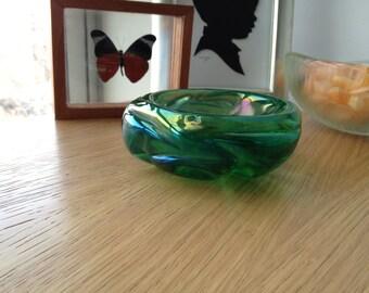 Vintage Iridescent Green Murano Glass Dish