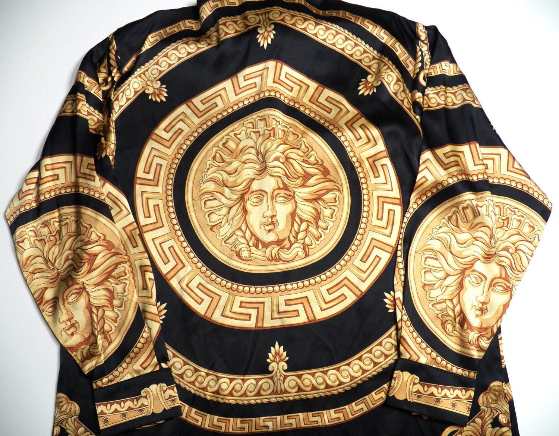 Versace Italy Style Mens Large Medusa Head Print 100 Silk