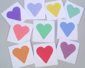 Heart cards, handmade paper, recycled, deckle edge, 4x4 inch, set of 10