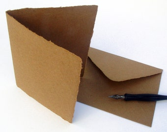 Brown kraft blank cards with envelopes, handmade paper, recycled, A2 size, set of 10