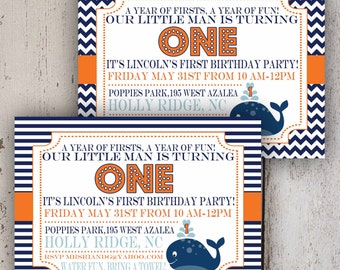Preppy Whale Party Invitation (Navy stripe, Navy chevron)